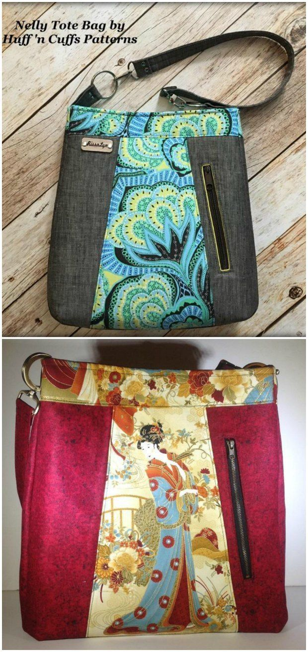 Tote bag purse sewing pattern with vertical pocket