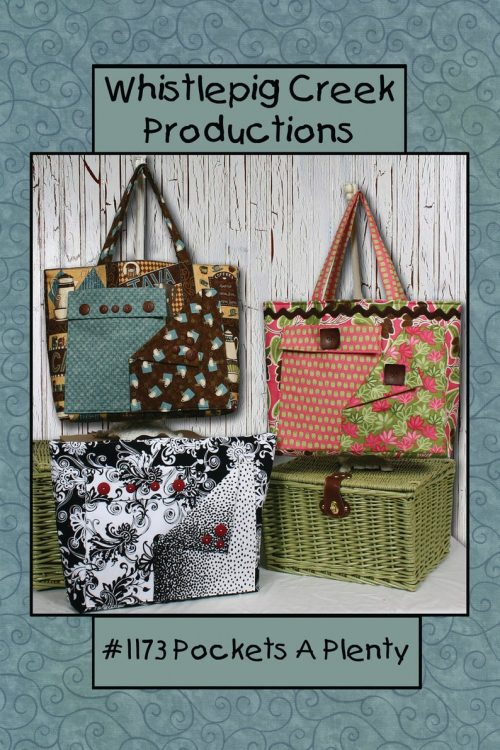 3 views of the plenty of pockets tote bag sewing pattern using different fabrics
