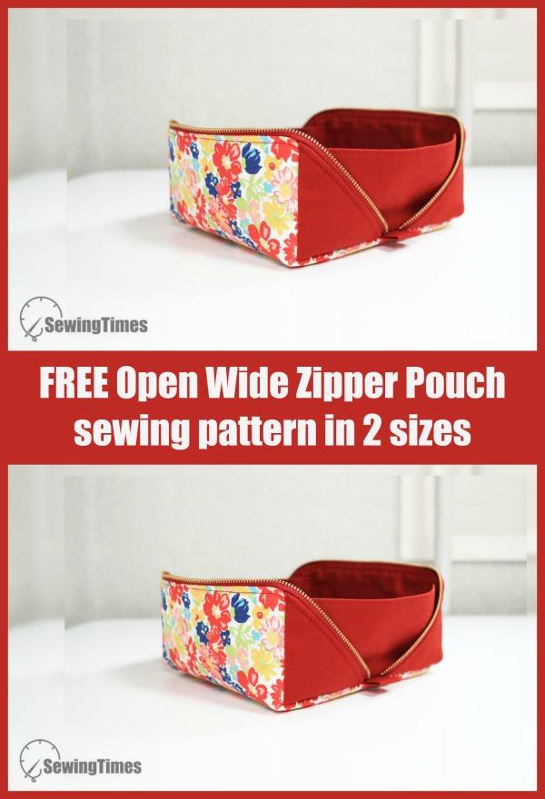 FREE Open Wide Zipper Pouch sewing pattern in 2 sizes