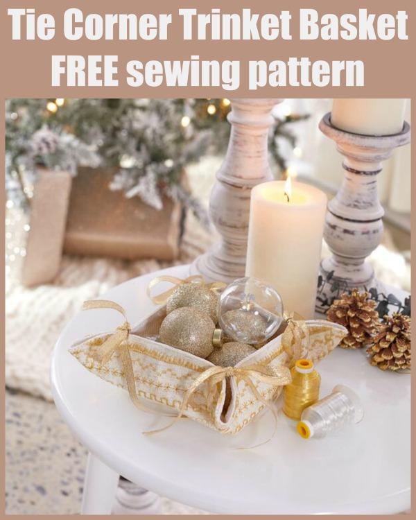 Tie Corner Trinket Basket FREE sewing pattern