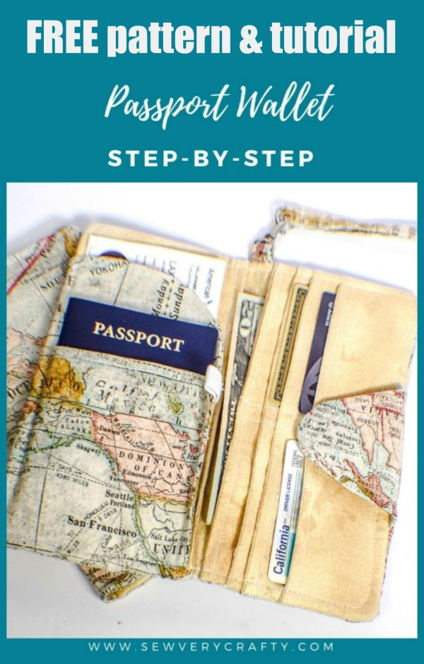 Sewing pattern for the FREE DIY Passport Wallet which is a quick and easy sew