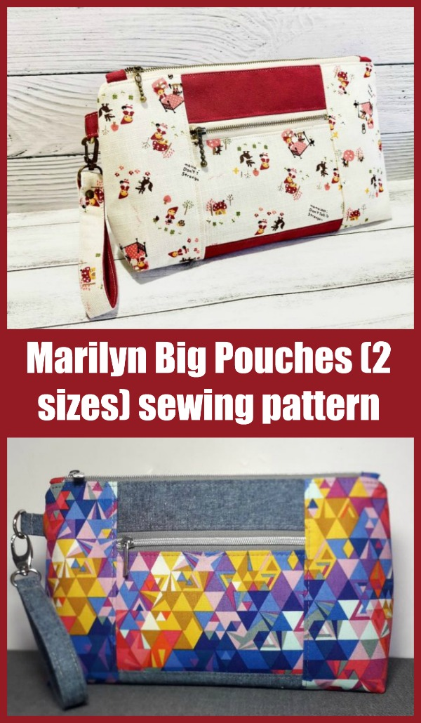 Sewing pattern for the Marilyn Big Pouches (2 sizes)