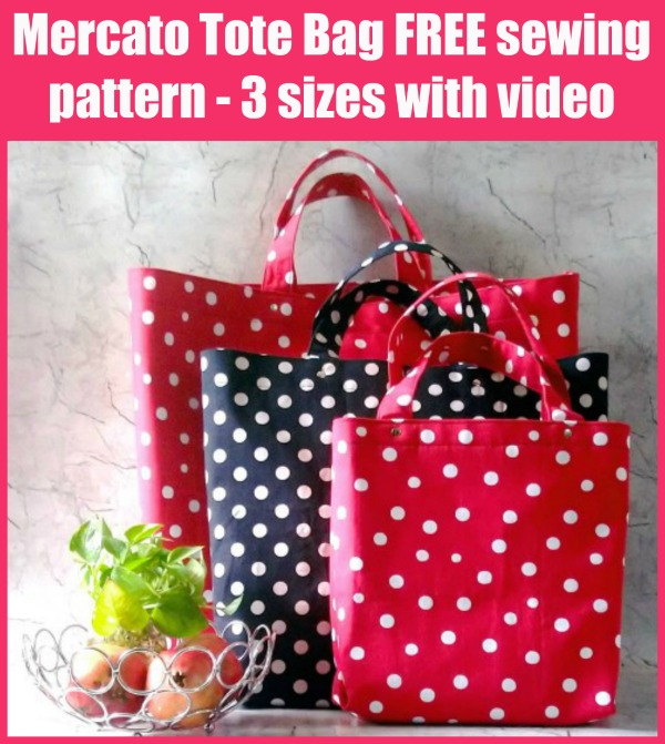 FREE sewing pattern for the Mercato Tote Bag, in 3 sizes with video