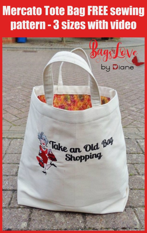 Mercato Tote Bag FREE sewing pattern - 3 sizes with video