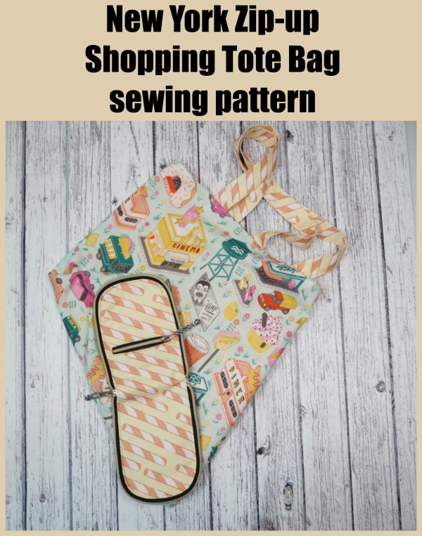 Sewing pattern for the New York Zip-up Shopping Tote Bag