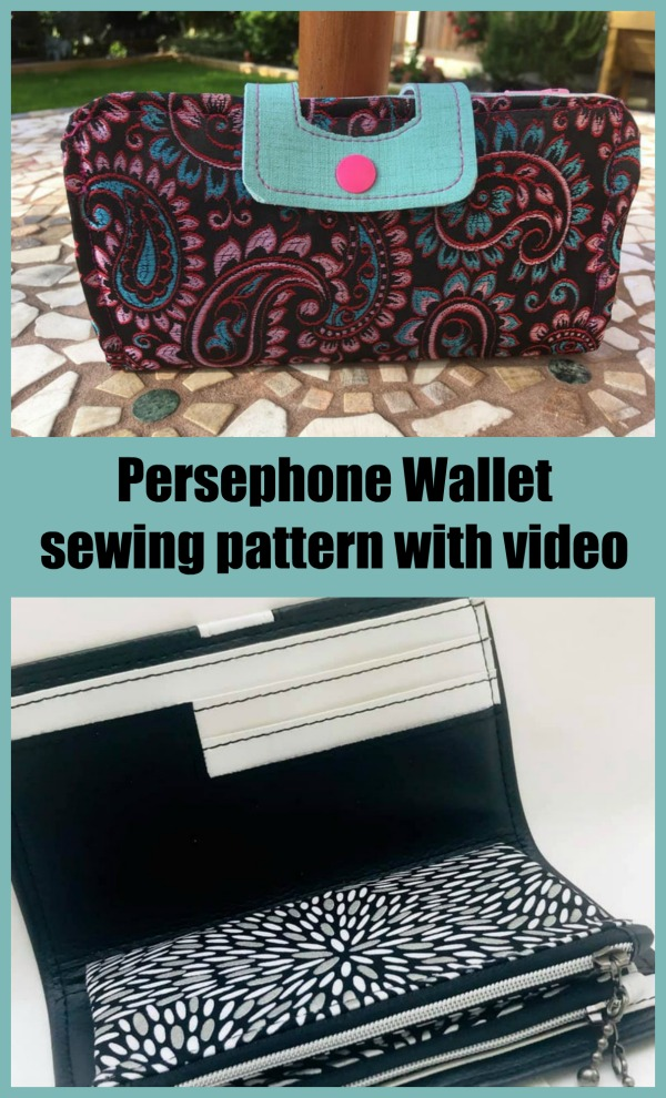 Sewing pattern with video for the Persephone Wallet