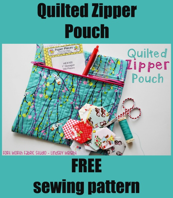 FREE Sewing pattern for the Quilted Zipper Pouch