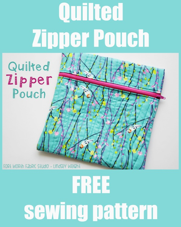 Quilted Zipper Pouch FREE sewing pattern