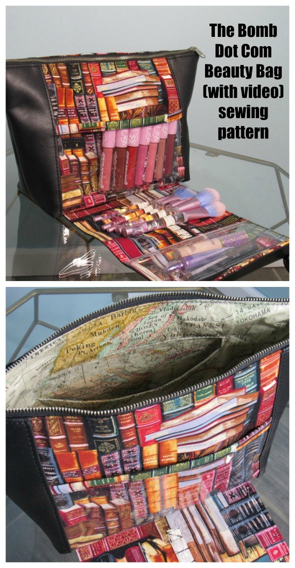 Sewing pattern for The Bomb Dot Com Beauty Bag (with video), a makeup lovers dream bag