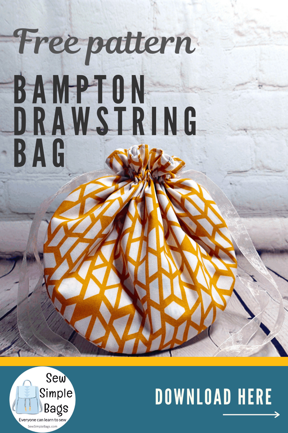 Easy drawstring bag sewing pattern for beginners with video tutorial in three sizes