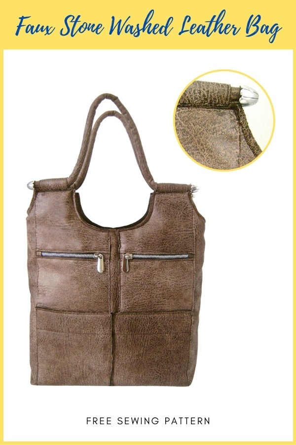 Faux Stone Washed Leather Bag FREE sewing pattern