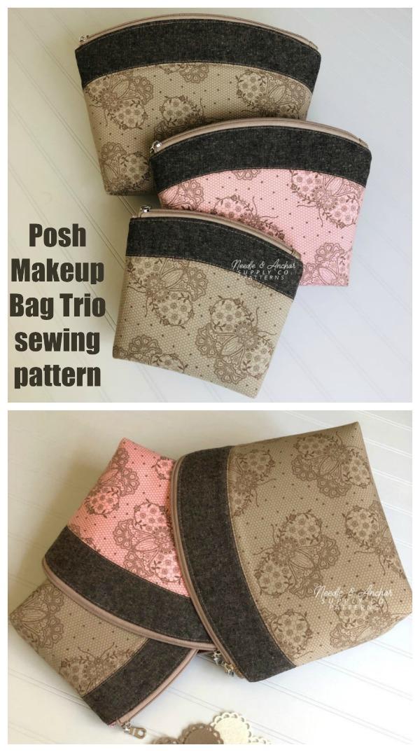 Posh Makeup Bag Trio sewing pattern