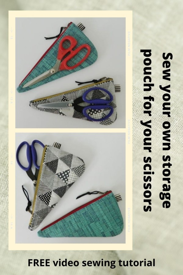 FREE video sewing tutorial showing you how to sew your own storage pouch for your scissors