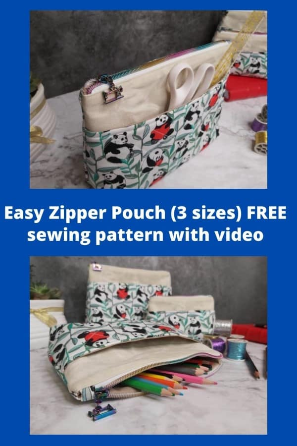 Easy Zipper Pouch (3 sizes) FREE sewing pattern with video