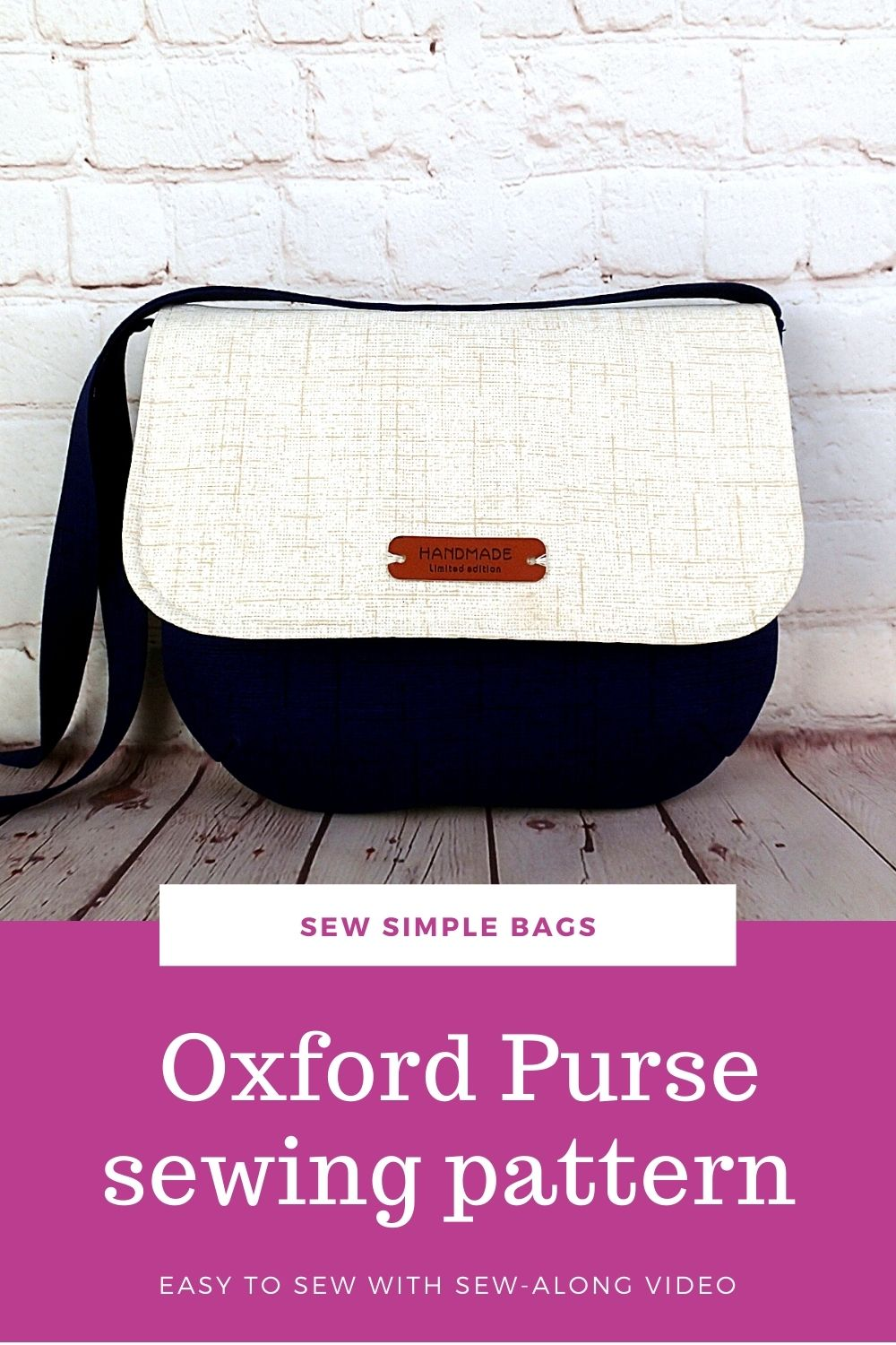 Oxford purse sewing pattern, easy bag to sew for beginners