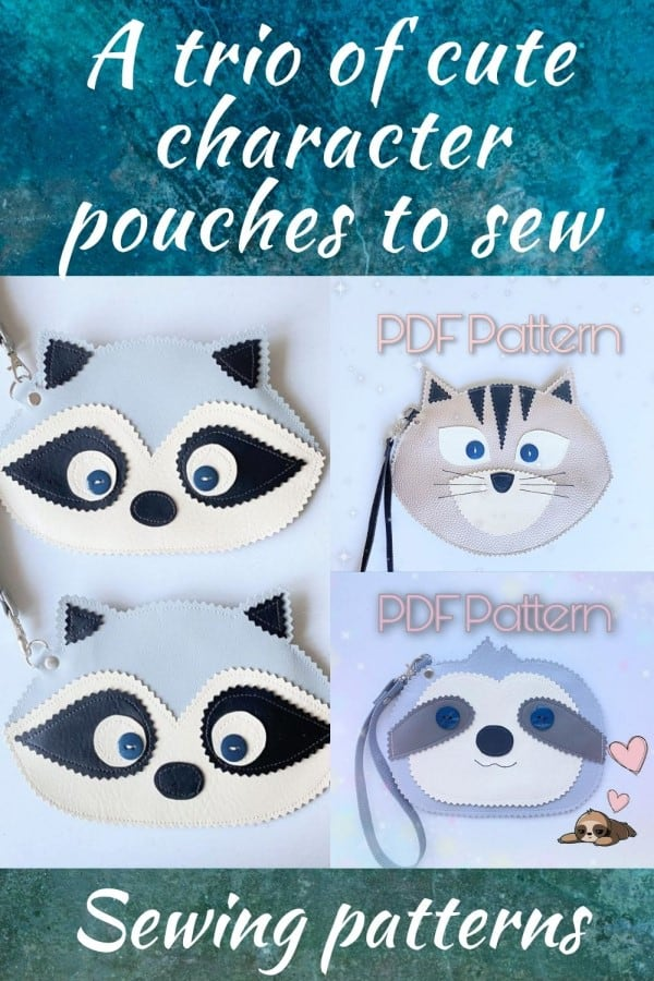 A trio of cute character pouches to sew