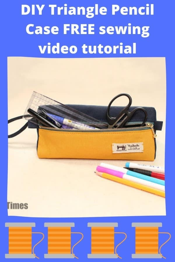 DIY Triangle Pencil Case FREE sewing video tutorial