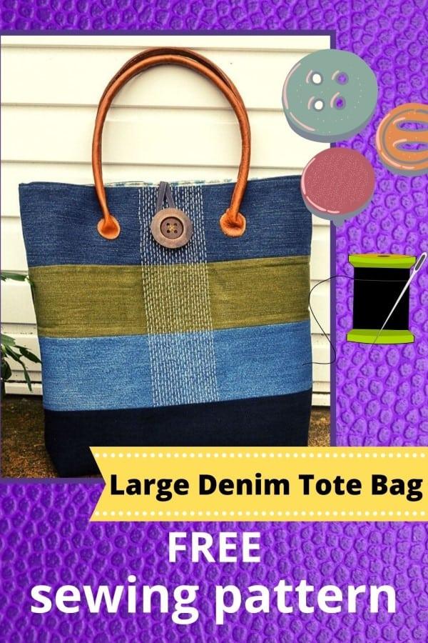 Large Denim Tote Bag FREE sewing pattern
