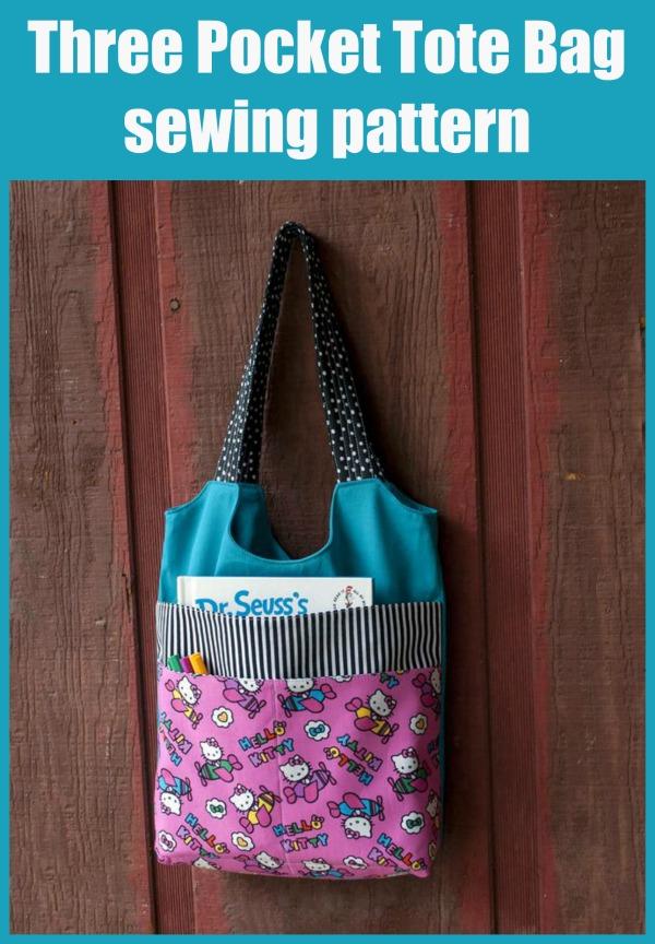 Three Pocket Tote Bag sewing pattern