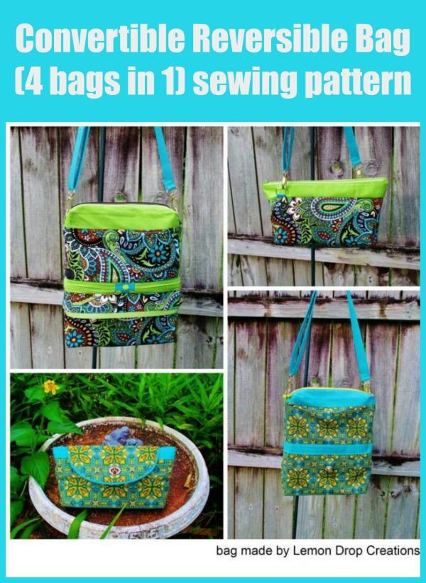 Convertible Reversible Bag (4 bags in 1) sewing pattern