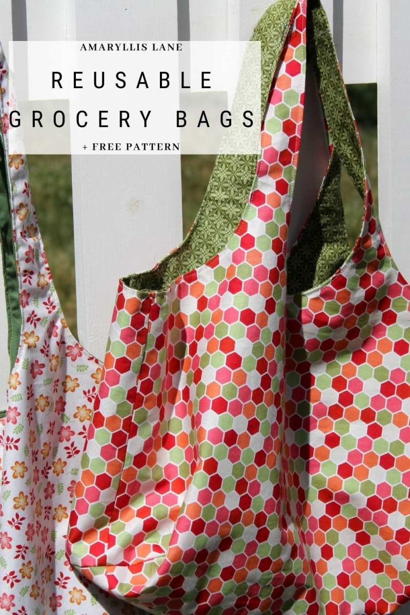 Reusable Grocery Bags free sewing pattern in two sizes