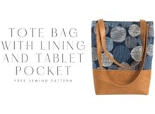 Tote Bag with lining and tablet pocket FREE sewing pattern (with video)