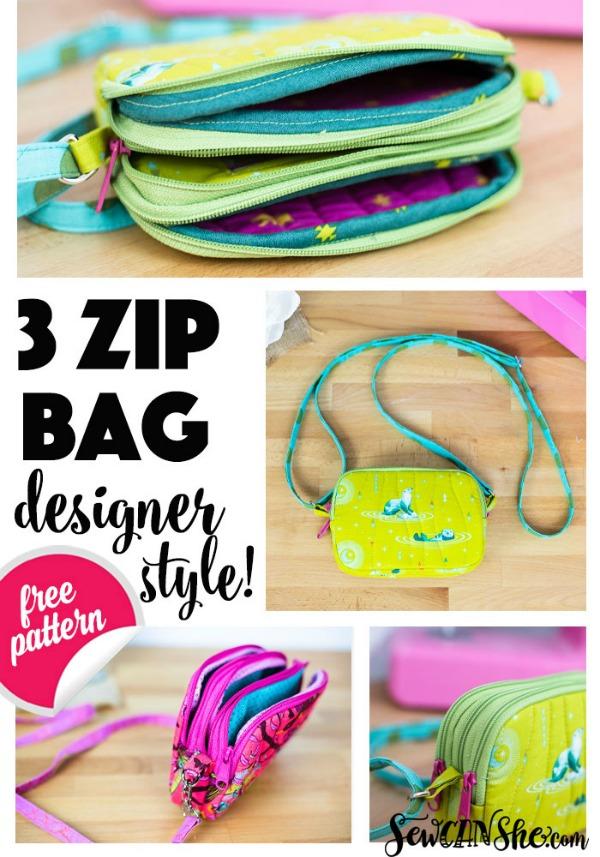 Triple Zipper Bag FREE sewing pattern