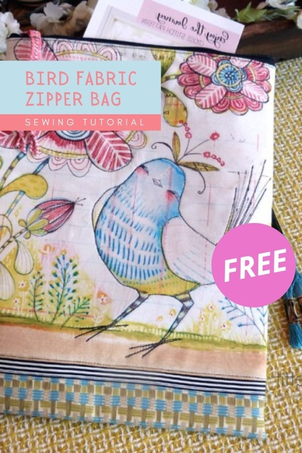 Bird Fabric Zipper Bag FREE sewing tutorial