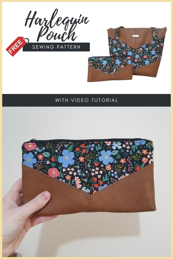 Harlequin Pouch FREE sewing pattern (with video)