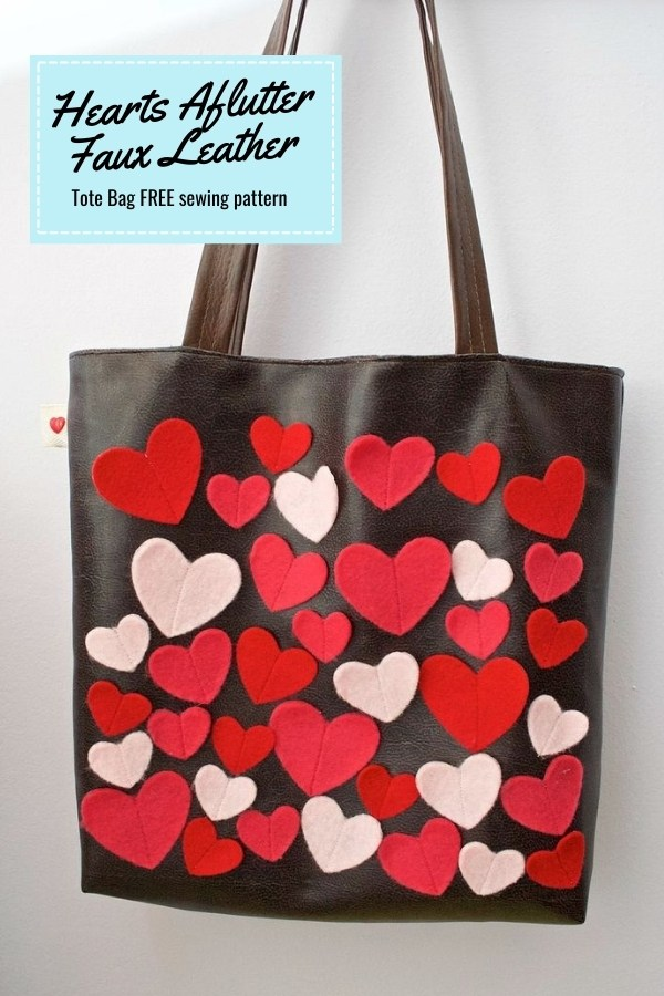 Hearts Aflutter Faux Leather Tote Bag FREE sewing pattern