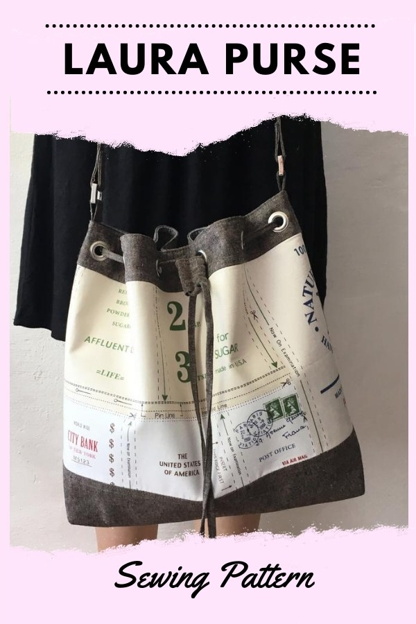 Laura Purse sewing pattern. This beautiful drawstring purse is a wonderfully roomy everyday purse that will fit all your necessities and there's still room for a few extras. Laura has one interior zipper pocket, one interior slip pocket, and a super fun drawstring closure.