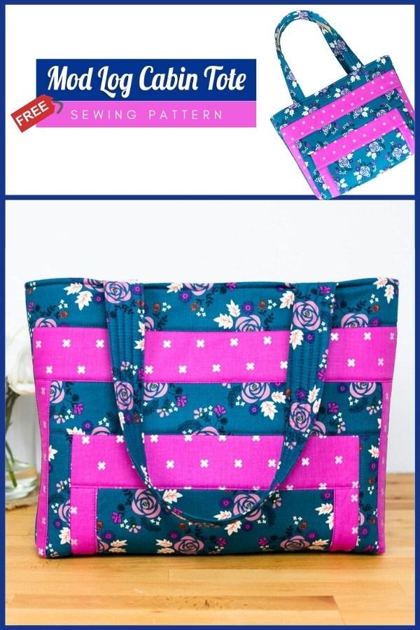 Mod Log Cabin Tote Bag FREE sewing pattern