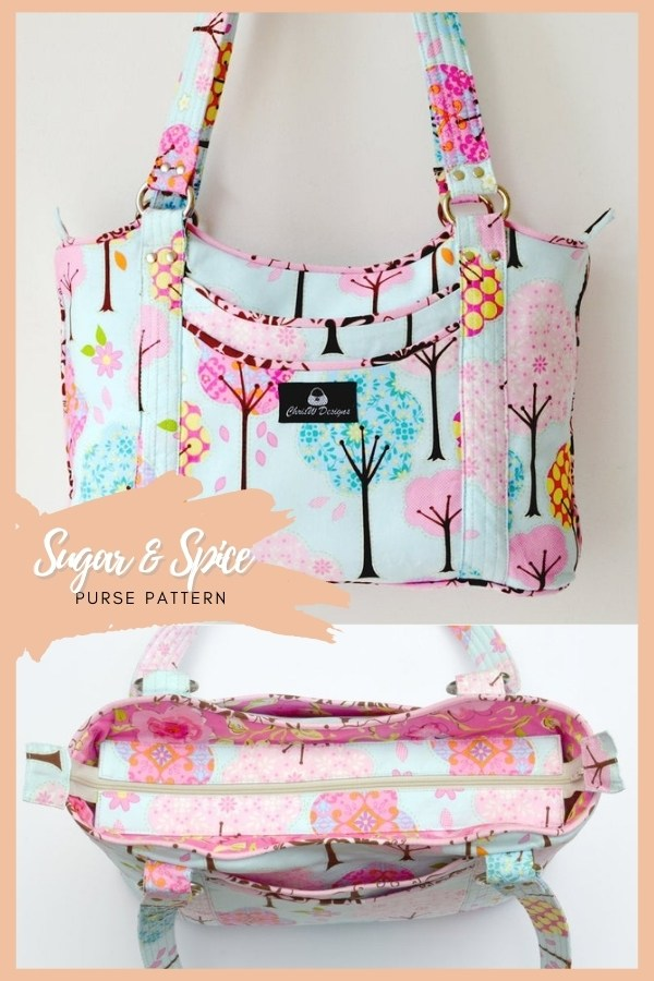Sugar and Spice Purse sewing pattern. This bag is not only roomy and functional but has loads of storage space too. There are 4 exterior slip pockets and a main compartment closing with a recessed zipper which is super easy to make. Two pen pockets and an additional four slip pockets inside complete the ensemble. Lots of wonderful piping, metal rings, and shiny rivets give your bag that professional look. Your friends won't believe you made it yourself!
