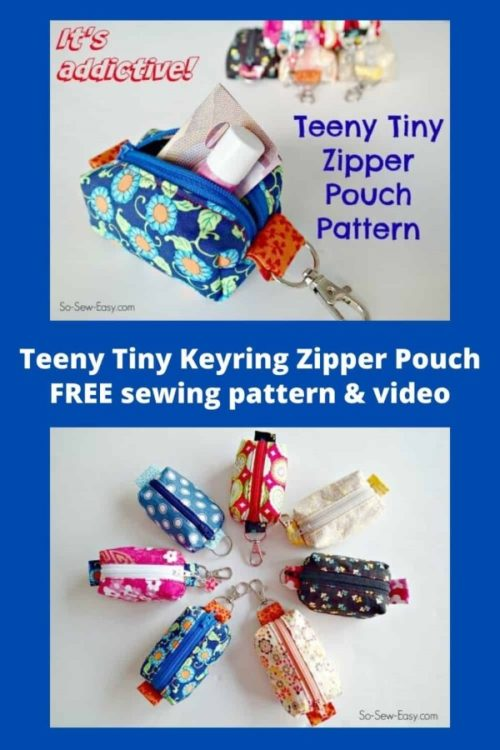 Teeny Tiny Keyring Zipper Pouch FREE sewing pattern & video.