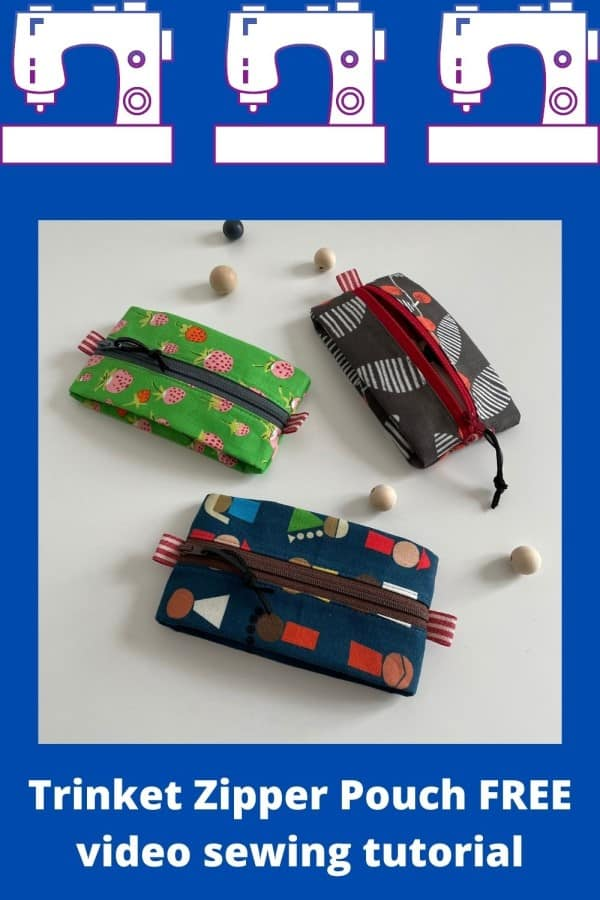 Trinket Zipper Pouch FREE video sewing tutorial