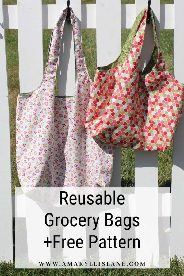 Reusable Grocery Bags free sewing pattern in two sizes.