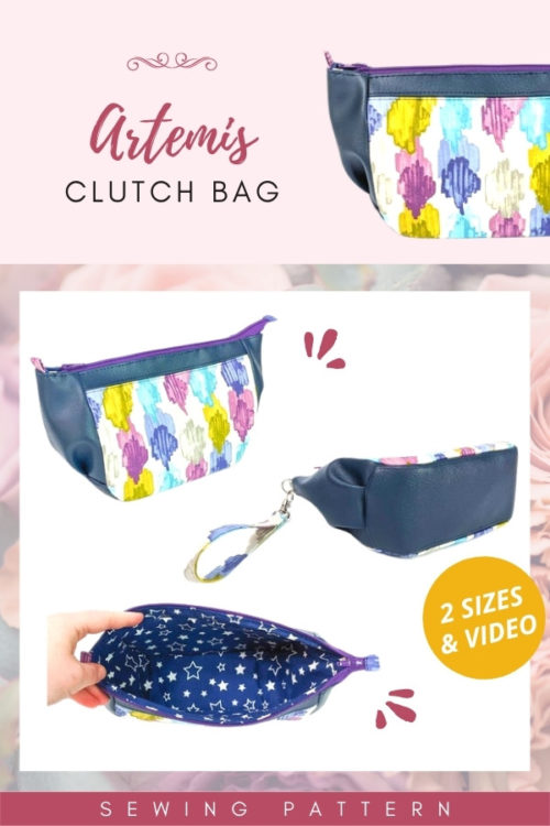 Artemis Clutch Bag (2 sizes and video) sewing pattern