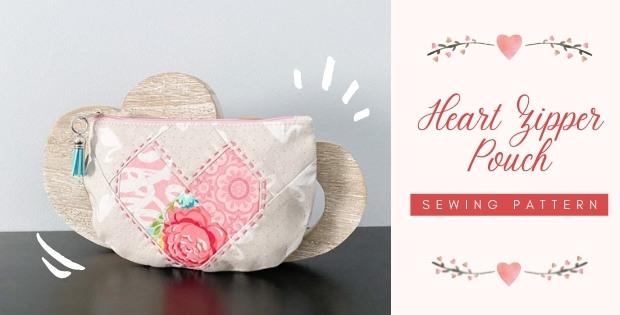 Heart Zipper Pouch sewing pattern