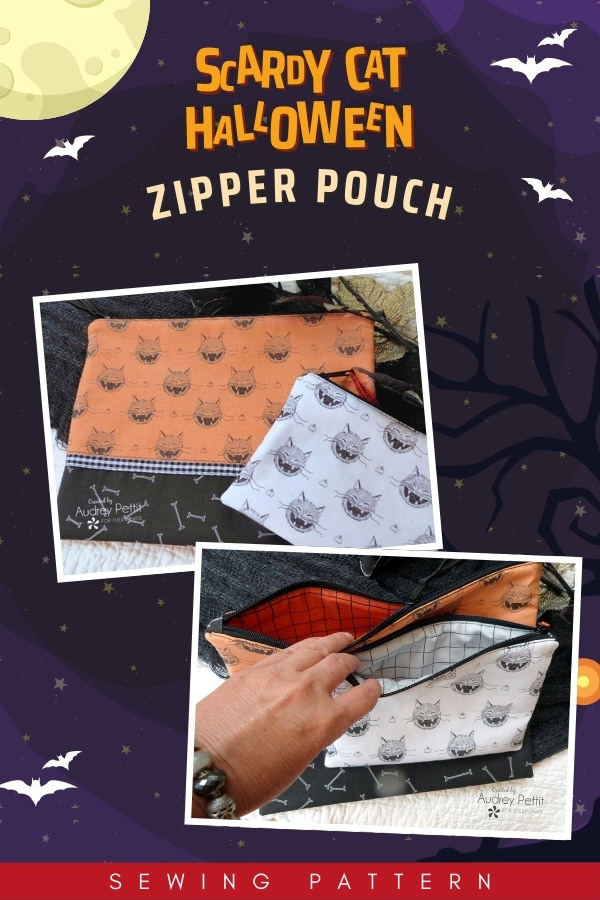 Scaredy Cat Halloween Zipper Pouches sewing pattern