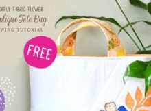 Colorful Fabric Flower Applique Tote Bag FREE sewing tutorial